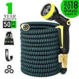 Expandable Garden Hose 50ft Flexible Expanding Water Hose with 3/4 Inch 100% Solid
