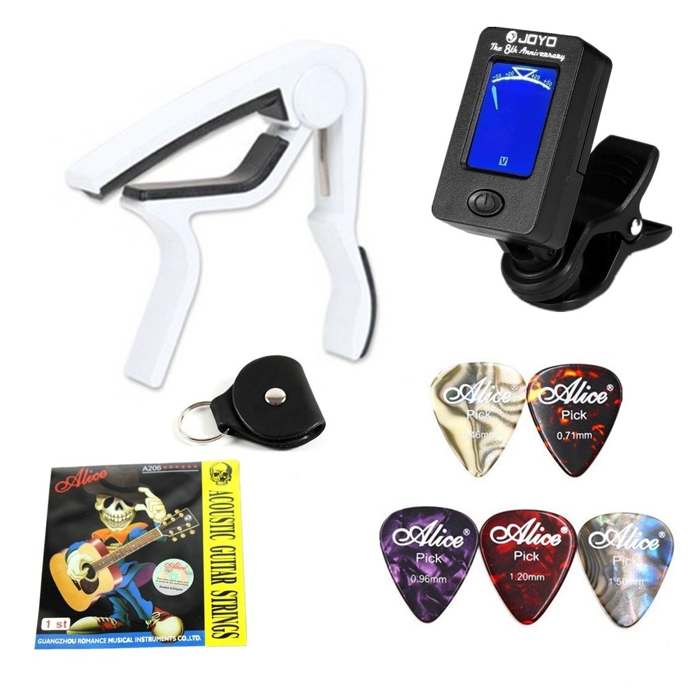 WANDIC Guitar Accessories Capo Guitar Picks Guitar 1st String for Replacement Guitar Clip Tuner with Pick Holder Case Style 3