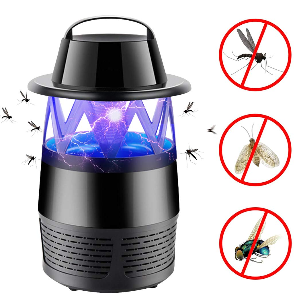 iphonepassteCK Fly Killer Electronic Insect Killer Mosquitoes Killer Lamp Bug Zapper Mosquito Zapper Insect Trap for Home Patio Lawn Indoor Outdoor Garden (Black2)
