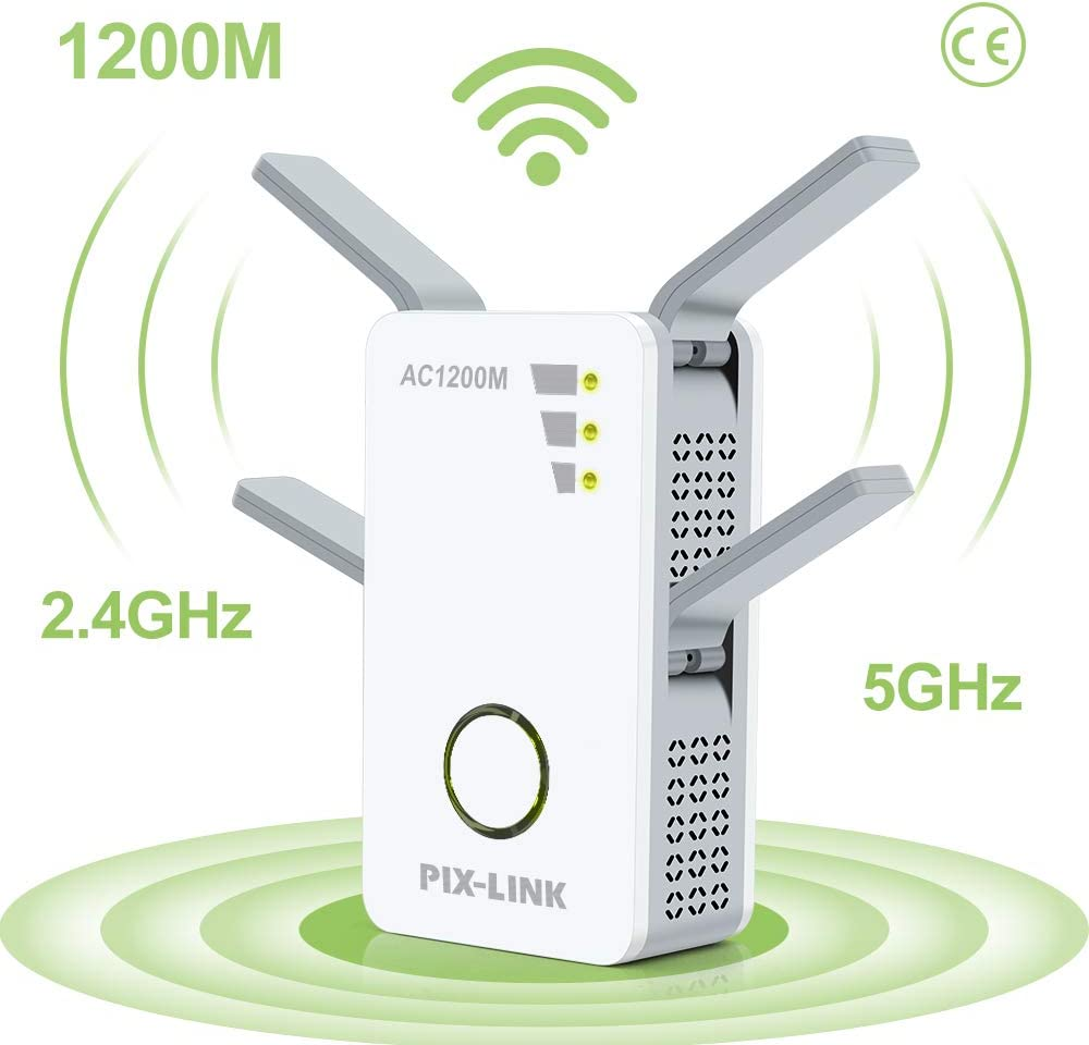 Wifi Booster 1200Mbps Wifi Extender Universal Dual Band 5GHz 867Mbit//s 2.4GHz 300Mbit//s Internet Booster Support AP//Repeater//Router//Client Mode with WPS Function for Cover a wider range of WIFI