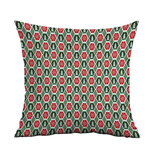 Sonora Almond - Geometric Microfiber Geometric Shapes Frame with Dotted Background Winter Trees Snow Sofa Cushion Cover Bedroom car Decoration W16 x L24 Inch Reseda and Almond Green Red