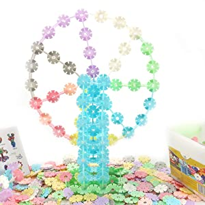 Big Mum Go Snow Flakes 500 Piece Lovely Macaroon Colour Interlocking Plastic Disc Set , Educational Toy Alternative to Building Blocks , an Great STEM Toys Gift for Kids