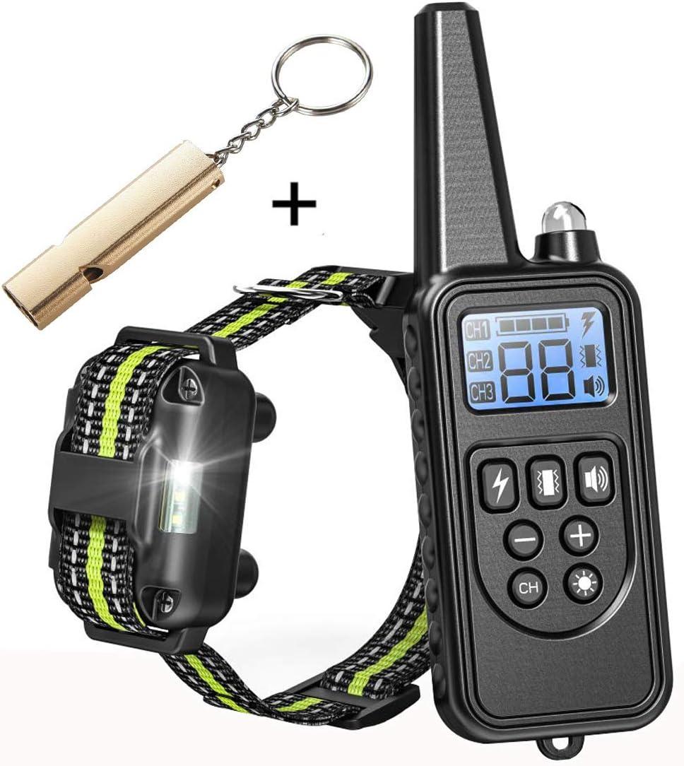 Jingfude Collier Dressage Chien Electrique Etanche IP67 Rechargeable avec Mode Bip//Vibration//Choc//Bouton S/épar/é//Protection Contre Le Choc Port/ée 500m pour Chien de Toute Taille
