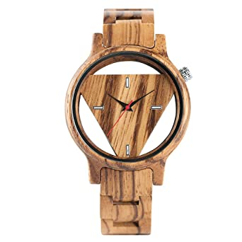 Entire Wooden Watch, Hollow Triangle Dial, Ultra Light Unisex Wood Wristwatch with Adjustable Band