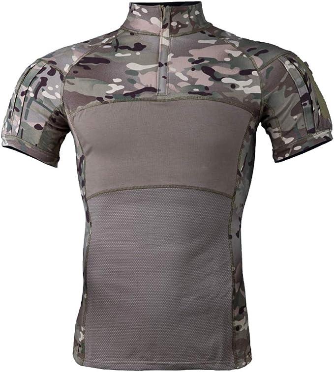 Camiseta Militar Táctica para Hombres, Uniforme Combate Transpirable Camuflaje Delgado Manga Corta, Adecuado para Correr Montar Bosque: Amazon.es: Deportes y aire libre