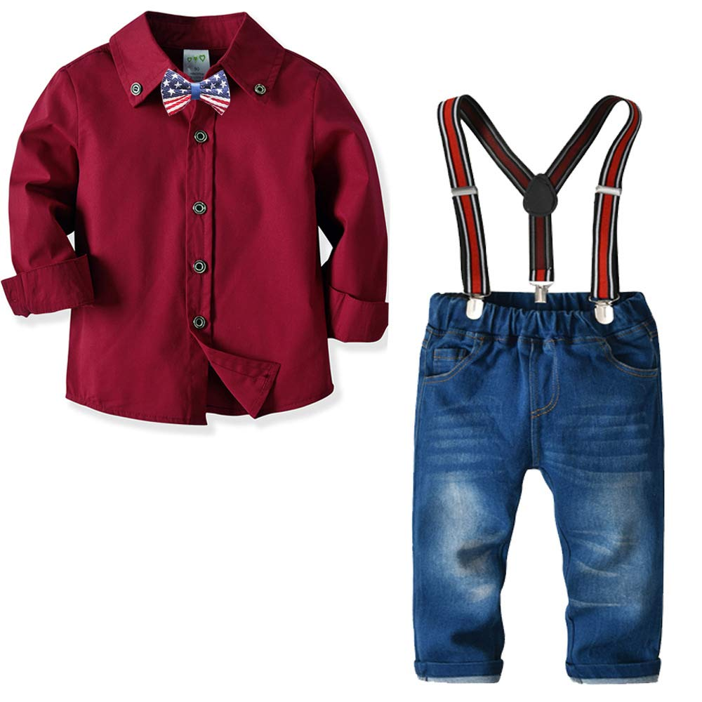 Little Boys Clothing Sets Shirts Bowtie + Suspenders Pants Denim Jeans, Toddler Boy Gentleman Outfits Suits Toddler Boy Gentleman Outfits Suits (Burgandy 90#(1-2 Years))
