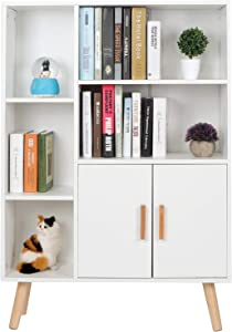 Ejoyous Cube Bookshelf, Modern Free Standing Bookcase Wood Book Display Shelf Open Shelving Unit Storage Cabinet with Double Door for Home Office Living Room Bedroom Furniture