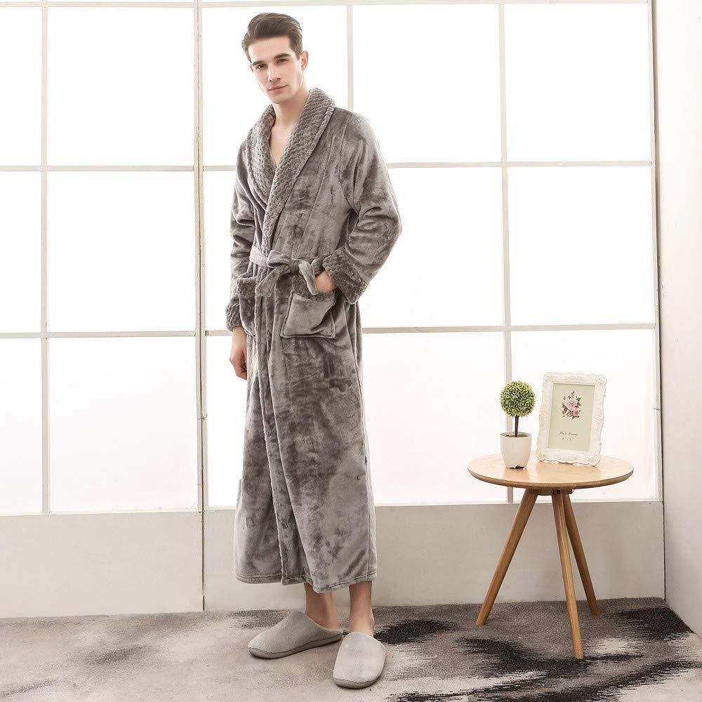 Ciyoon Premium Turkish Cotton Waffle Weave Lightweight Kimono Spa Bathrobe for Men Full Ankle Length Turkish Cotton Bathrobe