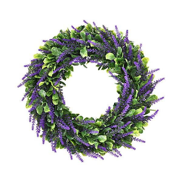 """Dolicer Artificial Lavender Wreath, Green Leaves Boxwood Wreath with Lavender Wreath Flowers Arrangements Lavender Spring Wreath for Garden Office Wedding Party Wall Table Home Decor,16.5"""""""