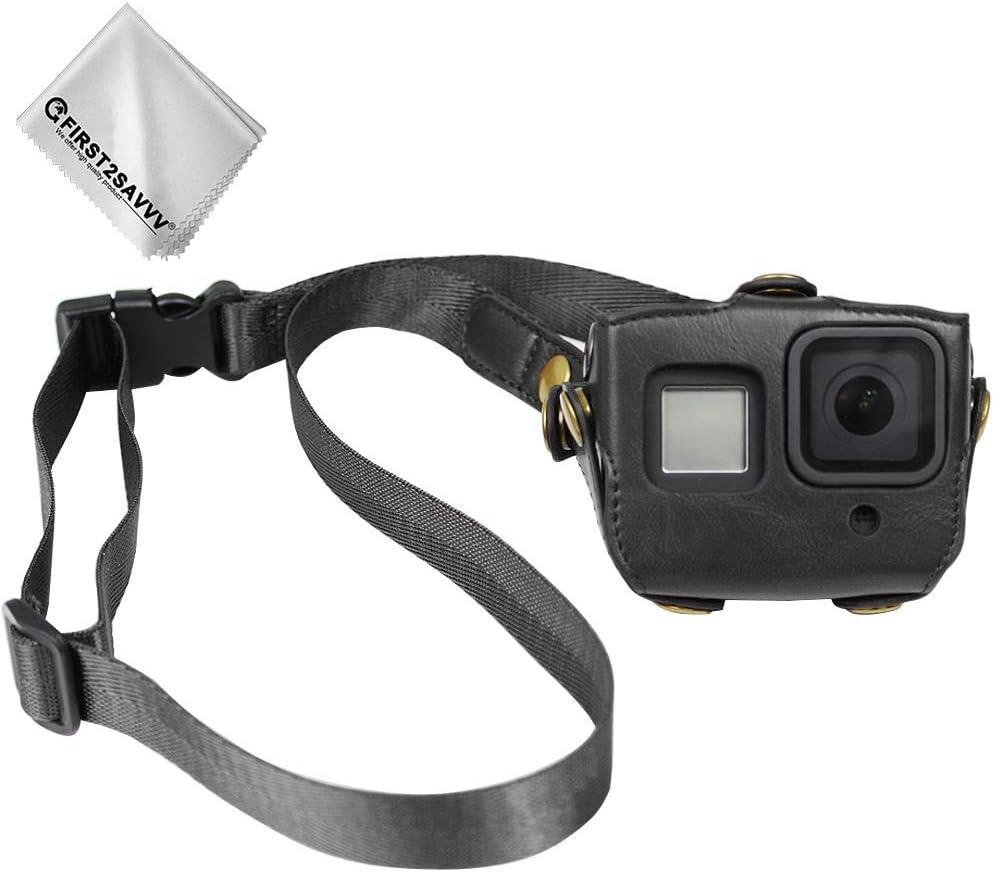 Negro PU Funda de Piel para GoPro Hero 8 Protectora Bolsa Correa para el Cuello cinturón + Paño de Limpieza: Amazon.es: Electrónica