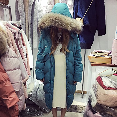 In Collar Section Cotton Cotton Winter Xuanku Women'S Bread Clothes Lake The Blue Collar Thickened Hat Jacket Long Of qIAqE0w1