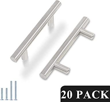 20 x T Bar Satin Kitchen Cupboard Cabinet Drawer Door Handles 5 Sizes Available