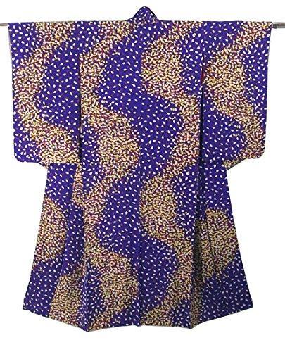含む社会学火星アンティーク 着物 桜の花びら 正絹 袷 裄62cm 身丈155cm