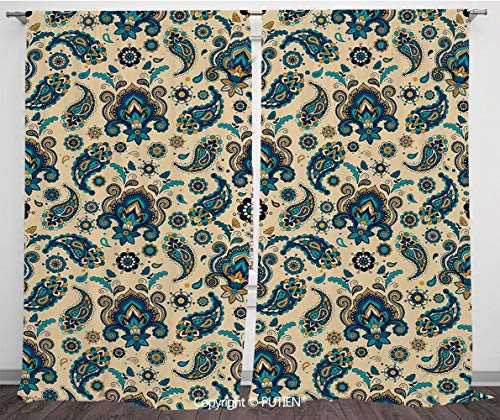 Satin Window Drapes Curtains [ Paisley,Colorful Vintage Floral Design Pattern with Oriental Paisley Retro Design Decorative,Yellow Blue Cream ] Window Curtain Window Drapes for Living Room Bedroom Dor