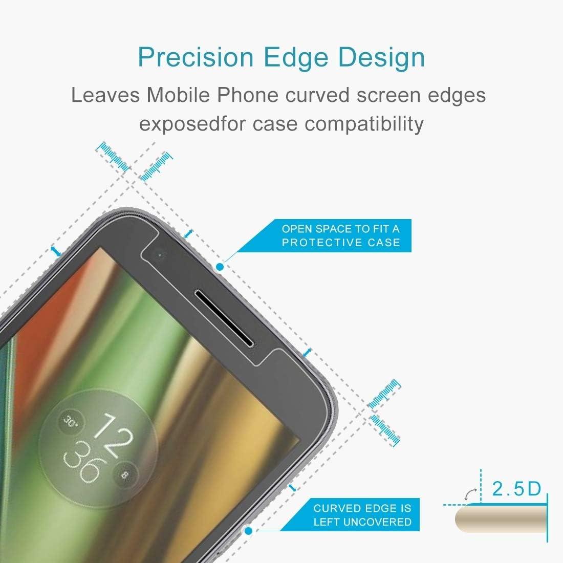 GzPuluz Glass Protector Film 100 PCS 0.26mm 9H 2.5D Tempered Glass Film for Motorola Moto E3