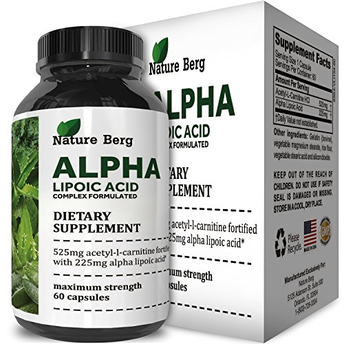 ALA + ALC Supplement - Alpha Lipoic Acid + Acetyl L Carnitine - Antioxidant Cellular Health + Repair Pills - Glucose Metabolism for Energy + Improve Cognitive Memory + Nerve Health - Nature Berg by Nature Berg