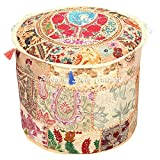 Stylo Culture Decorative Pouffe Floor Pillow Cover Round Patchwork Embroidered Pouf Ottoman Cover Beige Cotton Floral Traditional Furniture Footstool Seat Puff Cover (22x22x14)