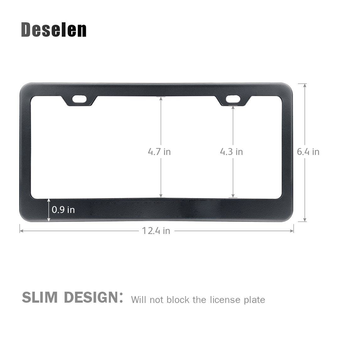 2 Pieces Deselen Silvery White//Chrome LP-BS01WP Stainless Steel License Plate Frame with Screw Caps Cover Set for Dodge