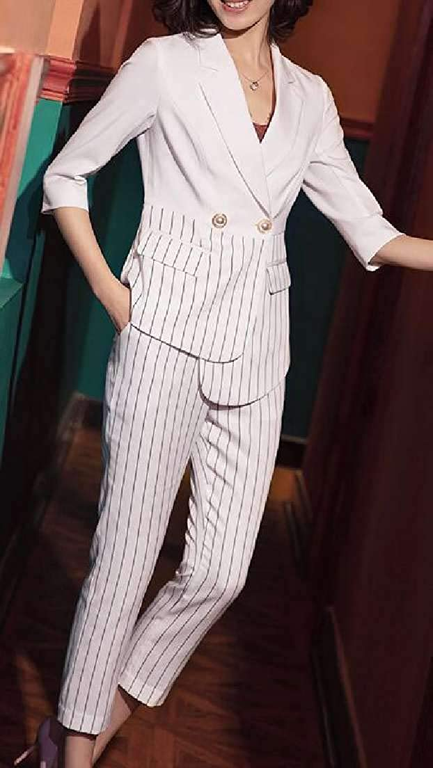 Jotebriyo Women Business Work 2 Piece Outfits 1//2 Sleeve Stripe Suits Sets Outfits