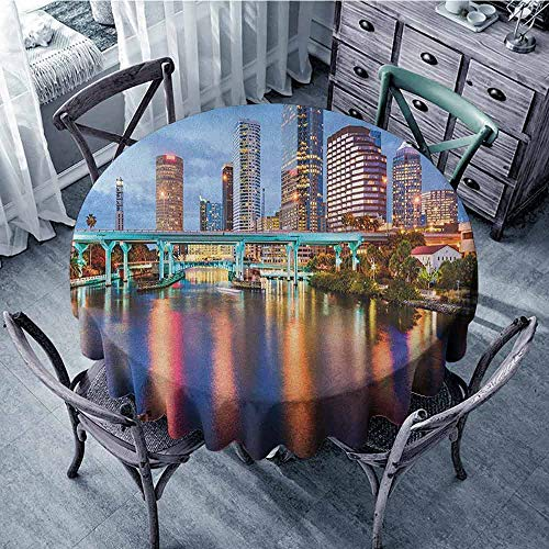 ScottDecor Food Round Tablecloth Picnic Cloth City,Hillsborough River Tampa Florida USA Downtown Idyllic Evening at Business District, Multicolor Diameter 50