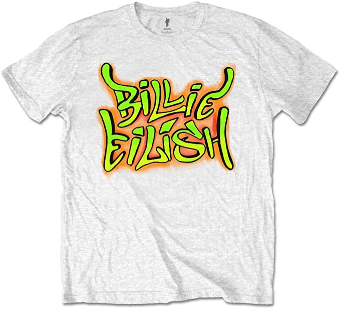 Amazon Com Billie Eilish Men S Graffiti Slim Fit T Shirt White Clothing