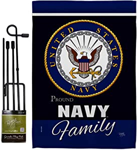 GS108412-BO US Navy Proudly Family Americana Military Veteran Armed Forces USN Decorative Gift Vertical 13