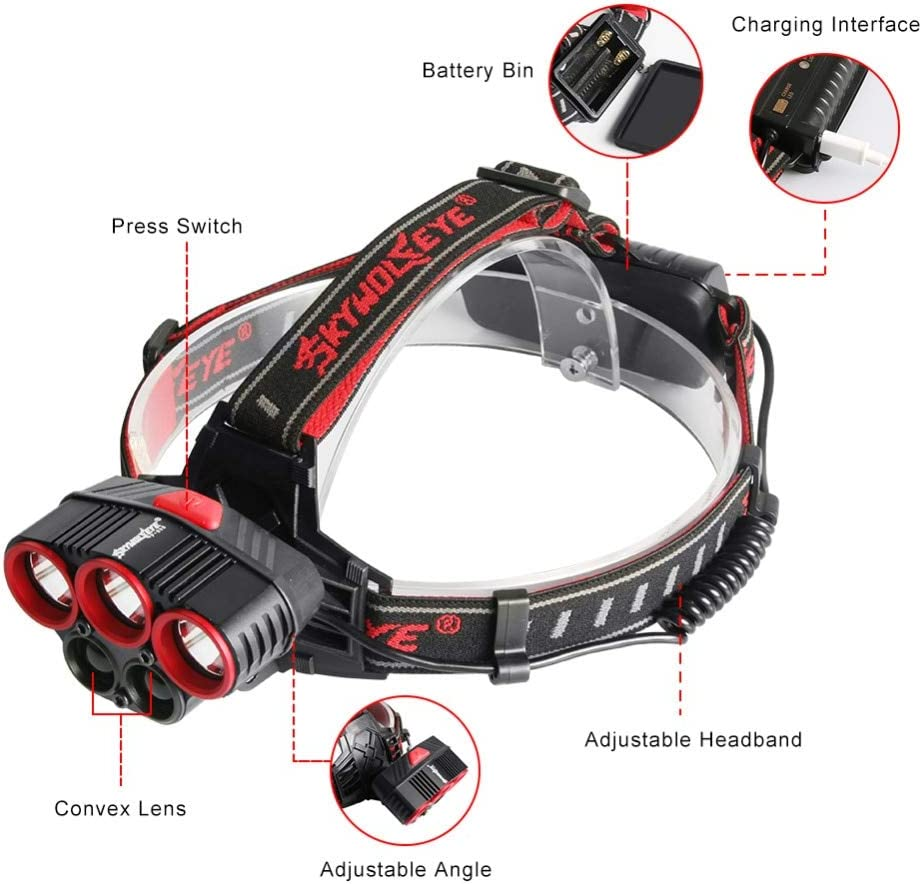 Lampe Frontale LED,Torche Frontale,50000 Lumens Xml T6 Led Headlight Usb Headlight Flashlight Super Bright 4 Modes Waterproof With 18650 Batterie