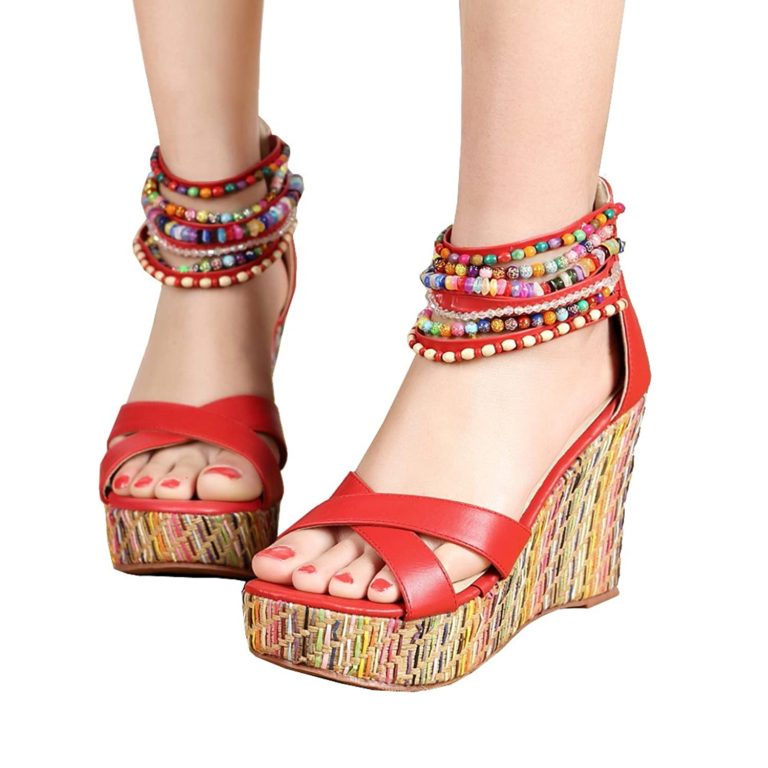 Women's Beaded Platform Wedge High Heel Sandal - DeluxeAdultCostumes.com