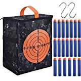nerf bullet carrying bag - Mtlee Target Pouch Storage Carry Equipment Bag with 2 Pieces Hooks and 20 Pack Refill Bullet Darts for Nerf N-strike Elite/ Mega/ Rival Series