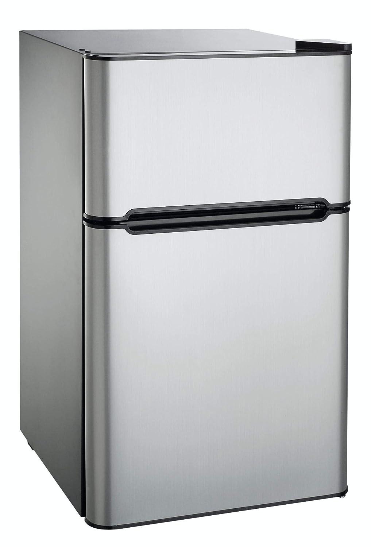 Auténtico 3.2 Cu. Ft. 2 Doors Compact Refrigerator Mini Fridge Cooler Freezer Compartment Reversible Door Adjustable Temperature Control Perfect For Small Space Like Dorm Wet Bars Condo Office Hotel