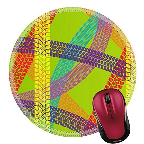 Price comparison product image Liili Round Mouse Pad Natural Rubber Mousepad Summer tire tracks colorful pattern illustration collection background vector IMAGE ID 12931427