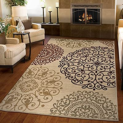 """Area Rug Unique Contemporary Machine-Made Stain Resistant/ Latex Free Indoor Medallions Shifting Scroll Ivory (6'7"""" x 9'8"""") - 142955. Geometric Pattern Area Rug"""