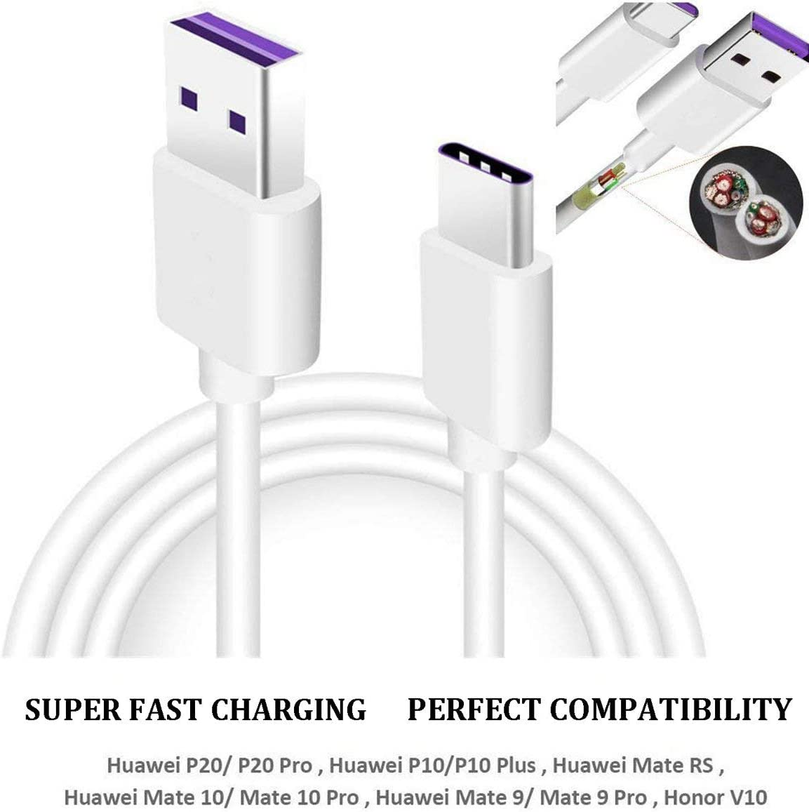 2M Copper Core Romirofs Type-C Data Cable for Huawei Super Fast Charging Data Line 5A Data Line Type-C Charging Line 1M