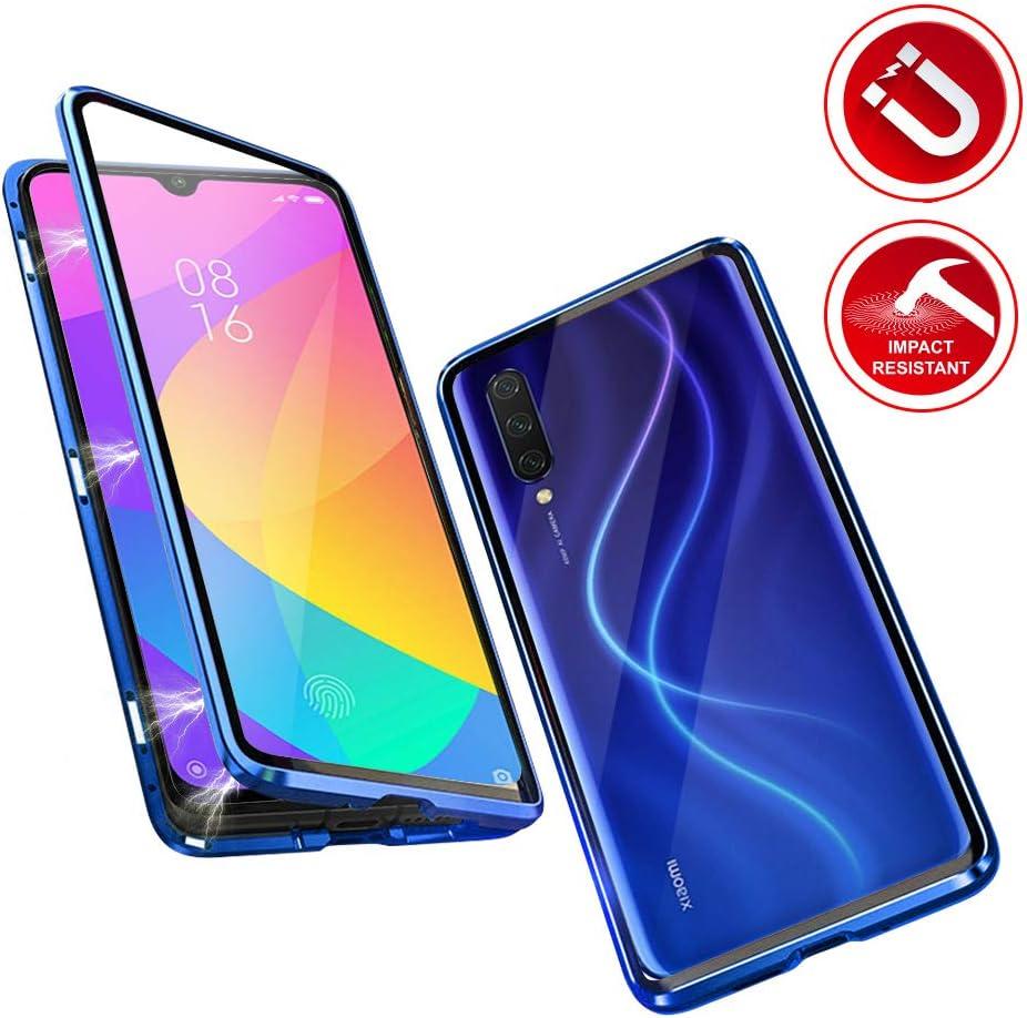 Funda para Xiaomi Mi A3 Adsorcion Magnetica Carcasa 360 Grados Protección Estuche Doble Untre Delgada Vidrio Templado Marco Aluminio Anti Choque Metal Flip Cover: Amazon.es: Electrónica