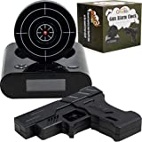 CREATOV DESIGN Target Alarm Clock with Gun - Infrared Target and Realistic Loud Sound Effects Fun Pistol Game Clocks for Heav