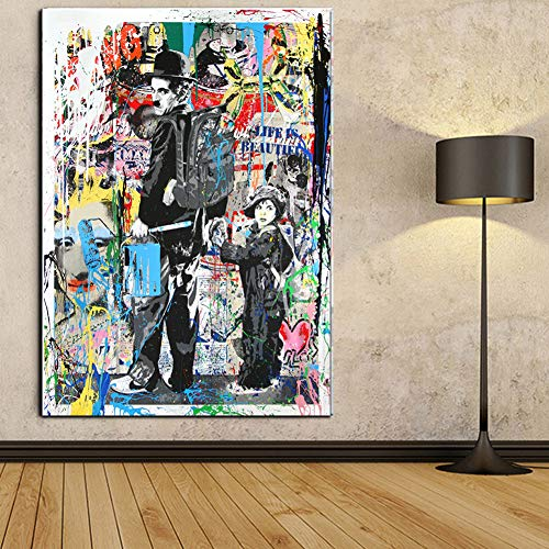 Faicai Art Modern Pop Art Banksy Canvas Painting Graffiti Art Prints Colorful Charlie Chaplin The Kid Oil Painting Modern Wall Art Posters Living Kids Room Decor Home Decorations Framed 32