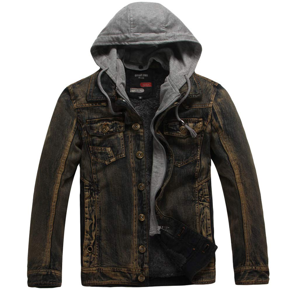Men's Jacket Men's Autumn Winter Vintage Wash Distressed Denim Coat,Top Coat Ennglun
