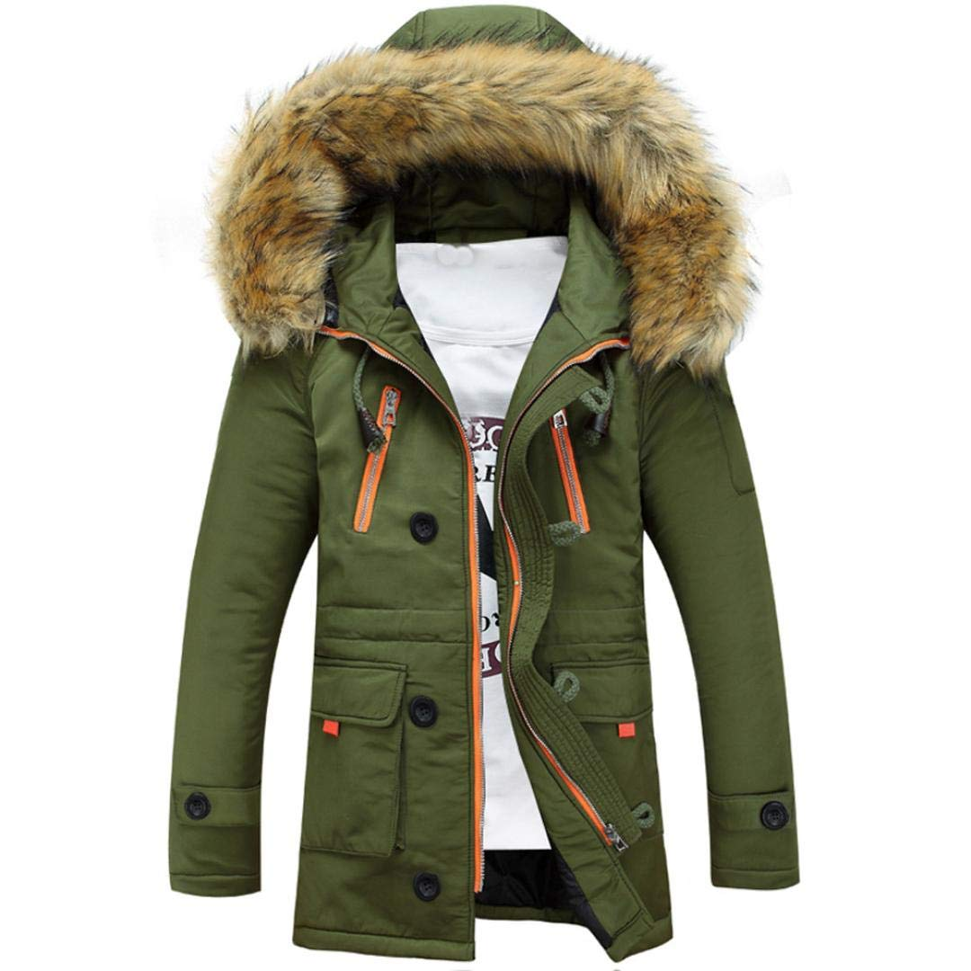 TWGONEUnisex Women Men Outdoor Fur Wool Fieece Warm Winter Long Hood Coat Jacket GN/XL(X-Large,Green)