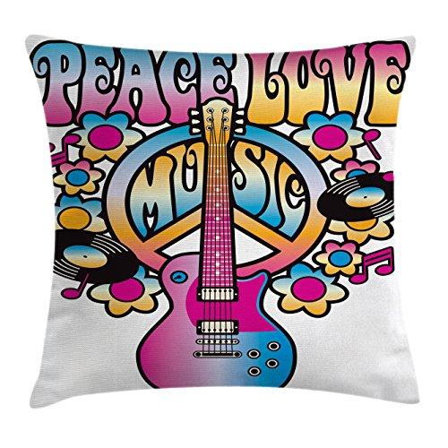 Ambesonne Groovy Decor Throw Pillow Cushion Cover, Peace Lov