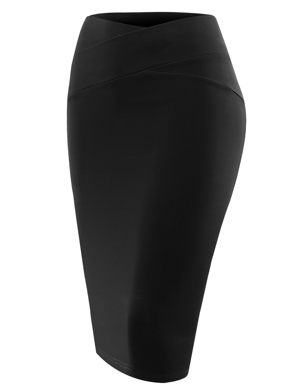 ALL FOR YOU Women's Slim Fit Front Detailed Pencil Skirt Black Medium