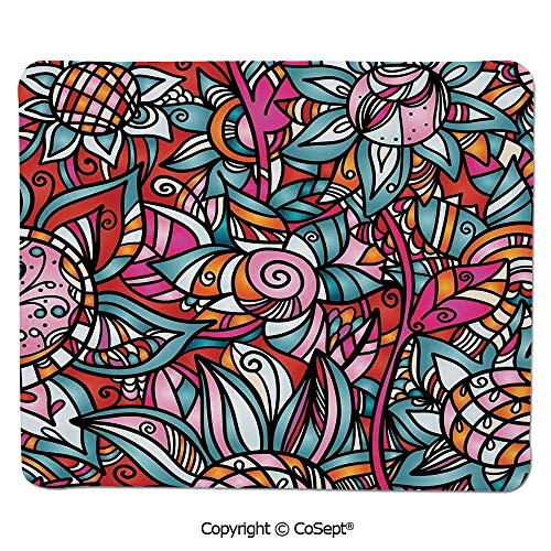 Ergonomic Mouse pad,Colorful Abstract Florals Sunflower Mosaic Curl Ornaments Stained Glass Decorative,for Computer,Laptop,Home,Office & Travel(15.74