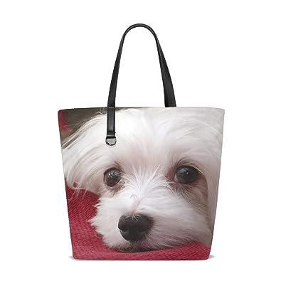 Amazon.com  Animal Dog Maltese White Pet Fluffy Small Puppy Adorable Tote  Bag Purse Handbag For Women Girls  Shoes 6eab942942