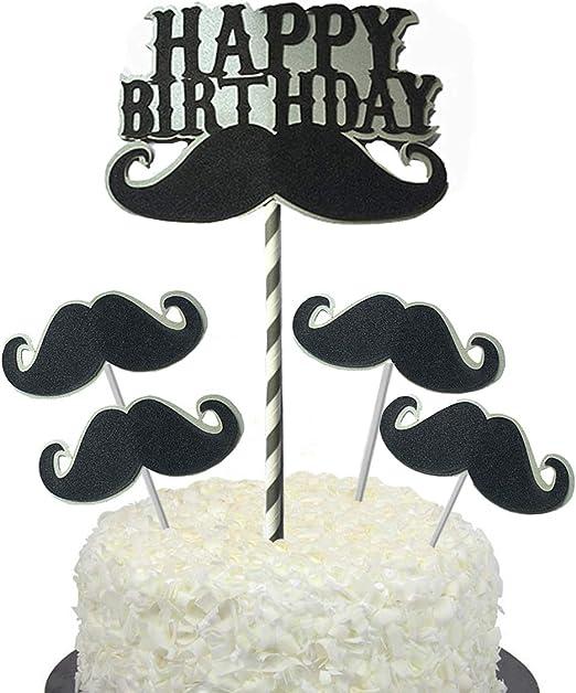 Stupendous Amazon Com Bbgparty Black Glitter Mustache Cupcake Topper Funny Birthday Cards Online Necthendildamsfinfo