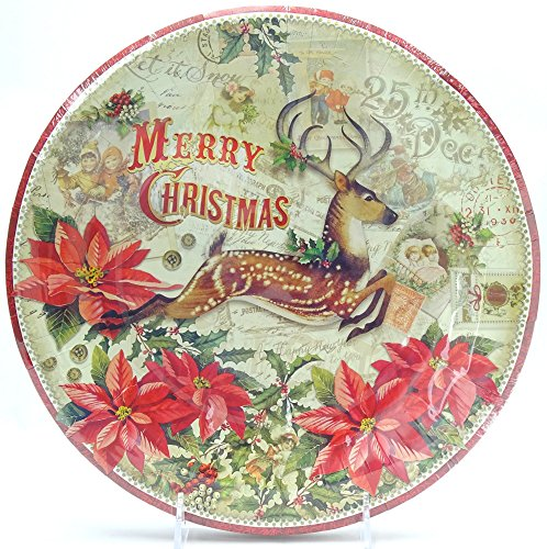 16 Ct Punch Studio Leaping Reindeer Holiday Paper Dinner Plates, 10.5, Christmas Deer Stag