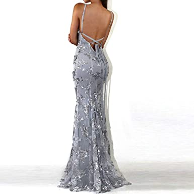 Birdfly Sexy Backless Slim Fit Sequins Decoration Luxurious Milk Silk Fabric Evening Formal Dress at Amazon Womens Coats Shop