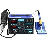 Estacion de soldadura 2 en 1 electronica Kit del Soldador Digital con Pistola de Aire Caliente