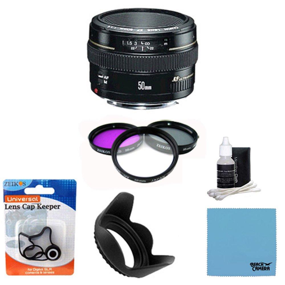 Canon EF 50 mm f1 . 4 USM標準&中望遠レンズfor Canon SLR Cameras (2515 a003 ) 58 mm 3ピースフィルタキット(Includes a UV、CPL、FLDフィルタ、58 mmハードレンズフード、5 pc。レンズクリーニングキット、レンズCap Keeper   B005H2CN38