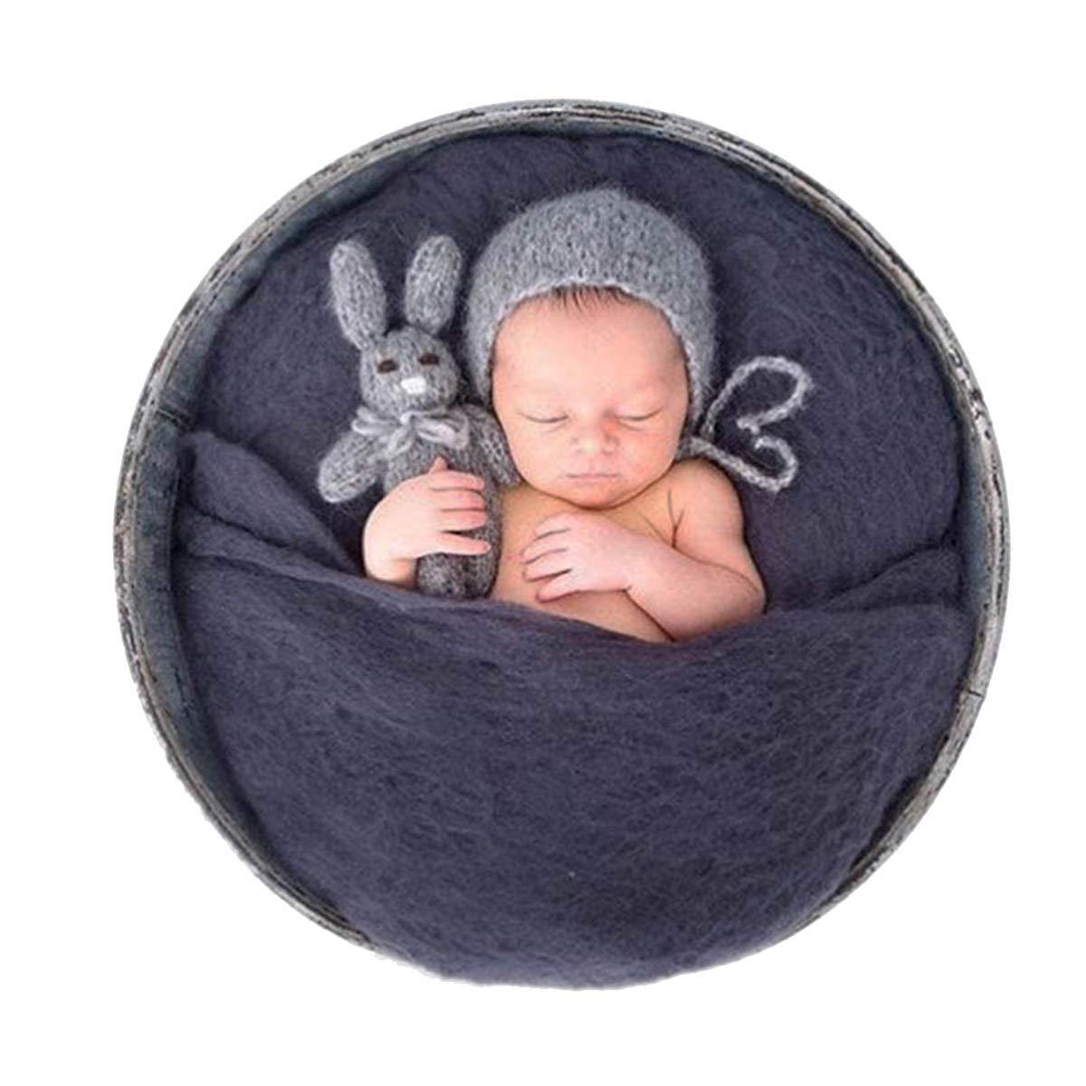 Sunmig Newborn Baby Wool Fluff Photo Props Merino Basket Stuffer Basket Filler Rug Photography Prop (Grey)