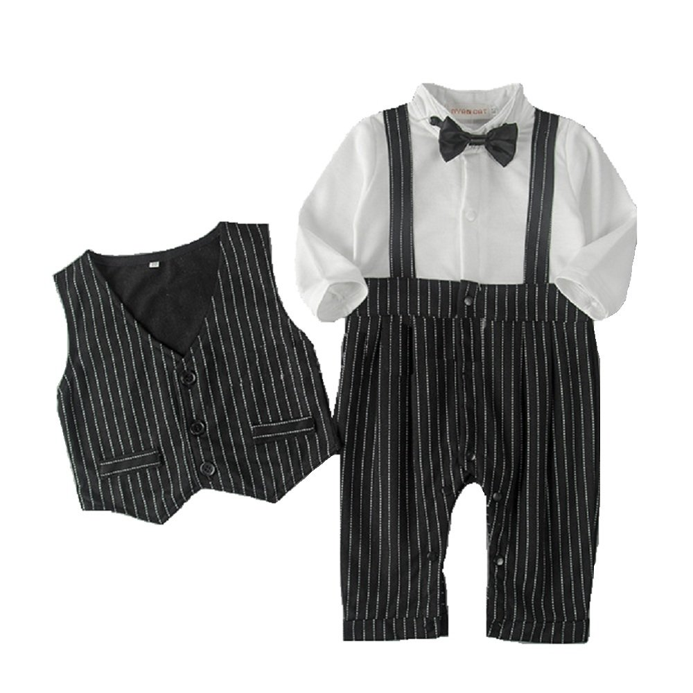 Hooyi Baby Boy Gentleman Long Sleeve Tuxedo Romper Set Vest Straps Jumpsuit