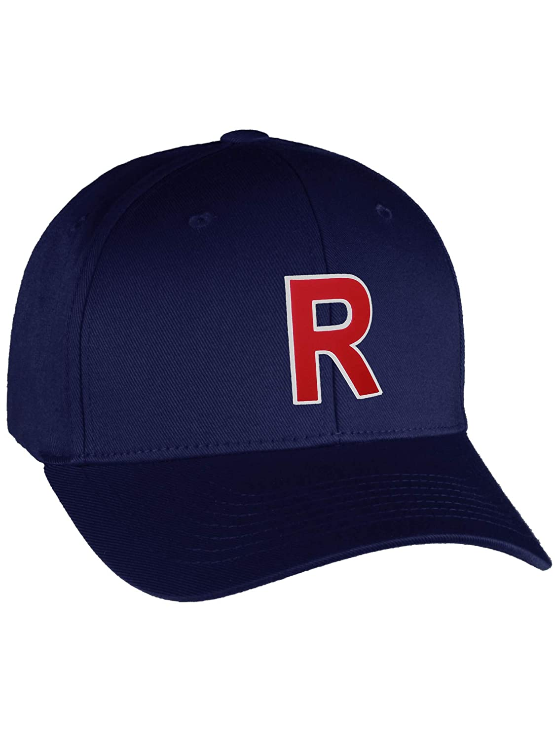 Flexfit Baseball Hat Custom Letter Initials A to Z Curved Bill Navy Cap Wh Red